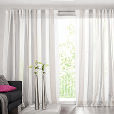 """Vorhang """"Luca"""", 1 Vorhang - Viel interessanter als das übliche Weiß: Der Store mit Blockstreifen."""