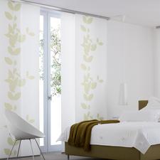 """Flächenvorhang """"Jasira"""", 1 Flächenvorhang - Blätter-Ranken auf japanischem Shoji-Papier."""