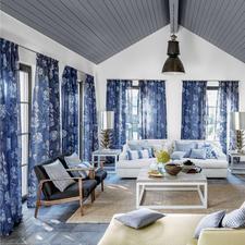 """Vorhang """"Fiora"""", 1 Vorhang - Das beste Rezept für einen sommerlichen Inbetween: Sanfte Farbe. Zartes Dessin. Körnig kühles Leinen."""
