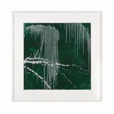 """Wasserfall grün"", gerahmt 83 x 83 cm."