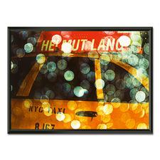 """Philipp Hofmann: """"New York Taxi in the rain"""" - Einzigartige Fotokunst – dank eigens entwickelter Technik von Philipp Hofmann. Ausdrucksstarke Präsentation in einem beleuchteten, kabellosen Objektrahmen. 20 Exemplare."""