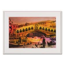 Helle Jetzig – Rialtobrücke P1 - Helle Jetzigs Venedig: Einzigartige Technik aus Malerei, Siebdruck und Schwarz-Weiß-Fotografie. Erste Papier-Edition, die nachträglich mit einem Siebdruck versehen wurde. 40 Exemplare. Maße: 80 x 53 cm