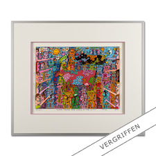 James Rizzi – Look – There are Cows in the City, 2000 - Handsignierte 3D-Papierskulpturen des verstorbenen James Rizzi.