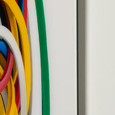 Das Werk wird auf ca. 3 mm dickes Acrylglas gedruckt und auf eine  Aluminiumverbundplatte kaschiert.