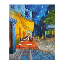 """Zhao Xiaoyong malt Vincent van Gogh – Caféterrasse am Abend - Vincent van Goghs: """"Caféterrasse am Abend"""". Die perfekte Kunstkopie – 100 % von Hand in Öl gemalt. Maße: 65 x 81 cm"""