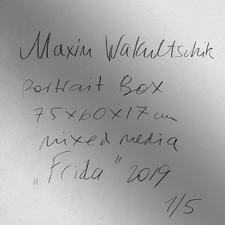 Nummerierung und Unterschrift auf der Rückseite des Werkes.