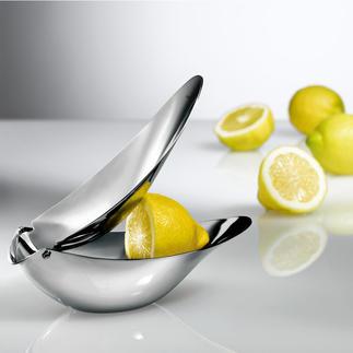 Design-Zitronenpresse Preisgekröntes Design serviert frisch gepressten Zitronensaft stilvoll wie nie. Kein Spritzen, keine Kerne.
