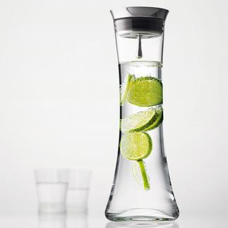 Karaffe mit Automatik-Verschluss Edle mundgeblasene Glaskaraffe mit selbst öffnendem Edelstahlverschluss und Rückhaltetechnik.