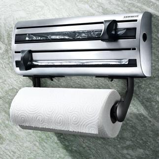 3fach-Edelstahl-Abroller Alle 3 Rollen: griffbereit in edlem Stahl.
