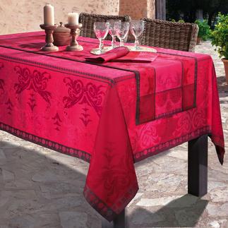 """Tischwäsche """"Shabby-Chic"""" Aufwändig mit verblasstem Muster als Jacquard gewebt. Durch genialen Fleckschutz stets tadellos."""