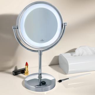 Villeroy & Boch Kosmetikspiegel mit Licht Wertvoll verchromt, mit verzerrungsfreier 3fach-Vergrößerung und heller, blendfreier LED-Beleuchtung.