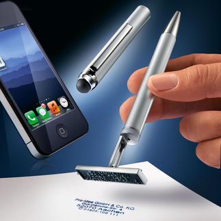 Touchpen-Kugelschreiber mit Stempel Individuell mit Ihrem Namen, Ihrer Adresse, E-Mail und Telefon-Nummer gefertigt.