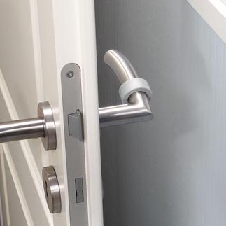 Fluoreszierende Türklinken-Puffer, 8er-Set Viel praktischer (& sicherer): Markieren Türen bei Dunkelheit. Und können Wände, Tapeten & Türklinken schützen.