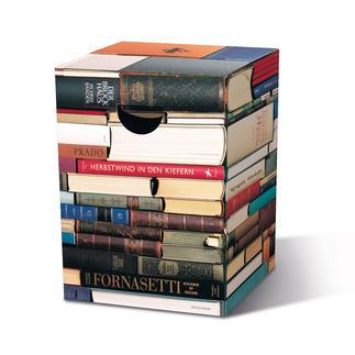 """Falthocker """"Bücherkiste"""" Platzsparend. Im Nu parat. Fantastisch vielseitig. Zusammengeklappt nur 2 cm dick – in ca. 2 Min. aufgestellt."""