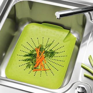 BRIX-Küchenspülen-Sieb Alles in die Spüle – und mit einem Griff wieder heraus. Ihre Hände – und Ihre Küche – bleiben sauber.