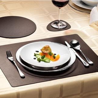 glassMat 4er-Set, hotMat oder tableMat 2er-Set Elegant wie Leder aus einem Stück. Aber viel strapazierfähiger und pflegeleichter.