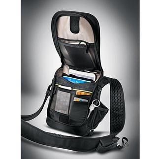 Safety-Umhängetasche 3 schlechte Nachrichten für Diebe: Schnittfest. RFID-geschützt. Mit Alarm.