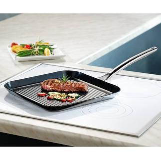 Grillpfanne Vulcano Ceramic Die bessere Grillpfanne: kratzfest versiegelt. Dennoch hitzefest bis 400 °C. Und induktionsfähig.