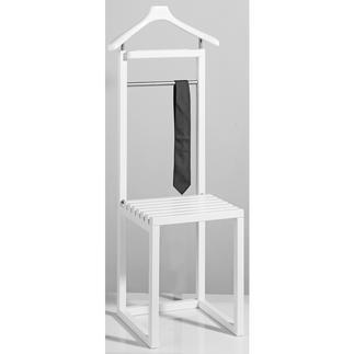 Anzugständer mit Sitz Stilvoller Butler. Bequemer Hocker. Und praktische Ablage für Taschen.