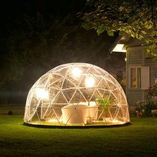 Garden Igloo®, Basis-Set mit Winterfolie und Sommerdach Aufsehen erregendes Kuppel-Design für Ihren Garten. & fürs ganze Jahr. Extrem robust & standfest, dennoch mobil.