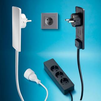Steckermodul Problemlöser hinter Möbeln: ultraflacher Stecker. Einfaches Herausziehen per Hebelwirkung.