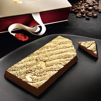 """Schokolade """"Barefoot in the golden sand"""" Ein Stück Luxus von einem der weltbesten Chocolatiers. Grand-Cru-Schokolade trifft Gold."""