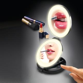 2-in-1-Klappspiegel Handspiegel und 10fach-Vergrößerungsspiegel in Ihrer Hand. Doppelspiegel mit LED-Beleuchtung.