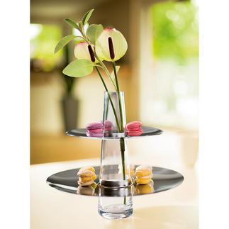 PHILIPPI Etagere mit Vase Modernes Edelstahl-Design serviert Gebäck, Canapés, Früchte, ... mit Niveau.
