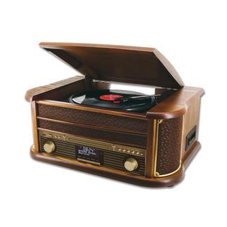 """Stereo-Musikcenter """"50er Jahre"""" Spielt Schallplatten, Kassetten, CD und Radio ... und speichert auf Wunsch direkt auf USB-Stick."""