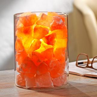 """Salz-Kristall """"Feuer im Glas"""" Transluzente Kristalle verwandeln das Licht in lebendiges Feuer und verzaubern die Atmosphäre."""