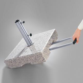 Granit-Schirmständer, 70 kg Kompakter Schirmständer aus echtem Granit mit 2 leichtlaufenden Rollen.