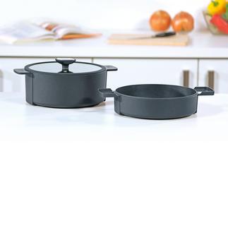 """Berndes Multibräter """"b.double"""" Preisgekrönt: 4 l-Bräter, Kochtopf, 2,5 l-Schmorkasserolle und Auflaufform in einem. Aus bestem Aluminium-Guss."""