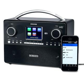 Roberts Hybrid-Radio stream 93i Empfängt Internetradio, UKW, DAB und DAB+. Und kann Musik-Dateien im Heimnetzwerk streamen.
