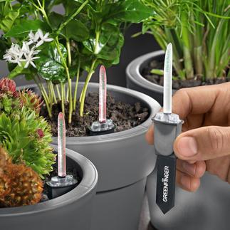GreenFinger Gießhilfe Noch präziser: diese Gießhilfe misst Erdfeuchte und  -temperatur.