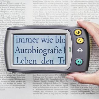 Digitallupe mit Display Kleingedrucktes lesen - ganz bequem. Vergrößert 5- bis 28fach. Oder bis zu 250fach auf Ihren TV-Bildschirm.