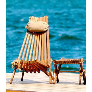 Skandinavischer Design-Liegestuhl oder Design-Beistellhocker/-tisch Komfortable Lamellen-Konstruktion aus raffiniert befestigtem Eiche-Massivholz.