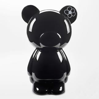 Beschreibbarer Teddy, schwarz Kunstvoll von Hand gegossen und hochglänzend lackiert. Perfekt in jedem Ambiente, zu Hause und im Büro.