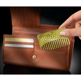 Brieftaschen-Kamm Messing oder Edelstahl Immer dabei: Der Kamm für die Brieftasche. Frisur- oder Bart auch unterwegs stets top gestylt.