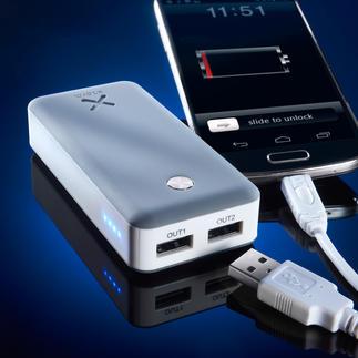Xtorm Powerbank Air 6.000 oder Xtorm Powerbank Free 15.000 Lädt 2 Mobilgeräte gleichzeitig. Mit Highspeed. Sogar energiehungrige Tablets.