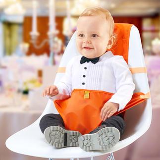Faltbarer Kindersitz Geniale Halterung macht jeden Stuhl zum Kindersitz. In Sekunden. Passend für jeden Hochlehner. Wiegt nur 130 g.