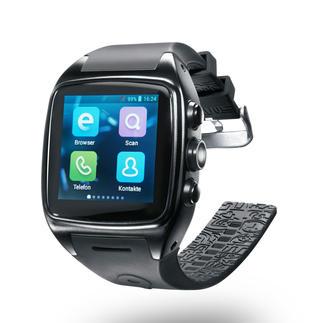 Smartwatch Enox WSP 88 Version 2 Alles, was Sie von einem Smartphone erwarten. Diese Hightech-Watch ist ein autarkes G3-UMTS Android 4.4 Smartphone.