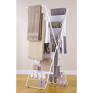 Wäscheständer X-dryer® Platzsparend hoch – statt breit und sperrig. Luftige 11,5 m Trockenplatz auf kleinstem Raum.