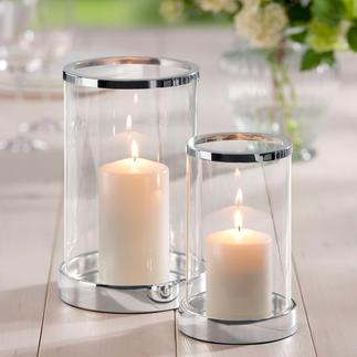 Windlicht versilbert, inkl. Kerze Brillantes Kristallglas. Klassische Zylinderform. Sockel und Rand edel versilbert.