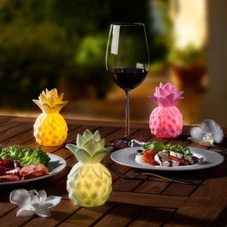 Leuchtende Baby-Ananas, 3er-Set Sanftes Leuchten mit exotischem Flair. Batteriebetriebene Ananas-Leuchten setzen sommerfrische Akzente.