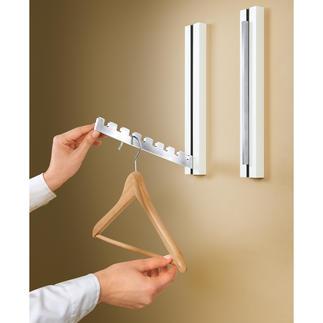 Design-Klappgarderobe, 1 Stück Eine Wandskulptur oder ein Deko-Objekt im puristisch edlen Design, das eine Garderobe im Inneren versteckt.