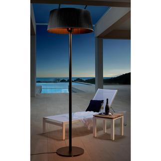"""Design-Heizstrahler """"Stehlampe"""" Stimmungsvolles Licht und wohltuende Wärme in einem, mit 360°Infrarot-Halogen-Röhren."""
