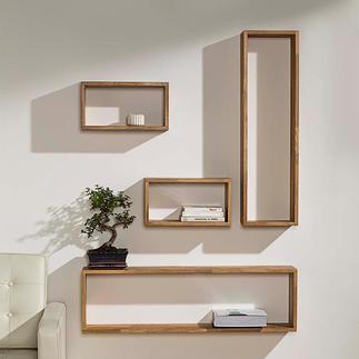 "Wandregale ""Eiche-Quader"" Frei zu arrangieren. Stabil stabverleimtes Massivholz – moderne, leichte Anmutung."