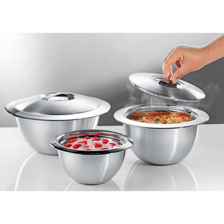 Edelstahl-Thermoschüsseln mit Deckel Doppelwandiger Edelstahl hält Ihre Speisen länger heiß oder kalt. In der Küche, auf dem Buffet und Tisch.