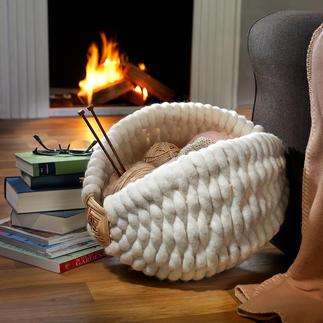 Galizischer Wollfilzkorb Kostbares Handwerk aus Galizien bereitet Tüchern, Plaid, Lektüre, ... ein kuscheliges Nest.