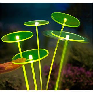Swing Lights, Grün, 1 Stück Netzunabhängige LED-Solartechnik lässt die fluoreszierenden Scheiben und Schwingstäbe geheimnisvoll leuchten.